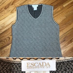 Escada Sleeveless Knit Top Black Cream Sz 14